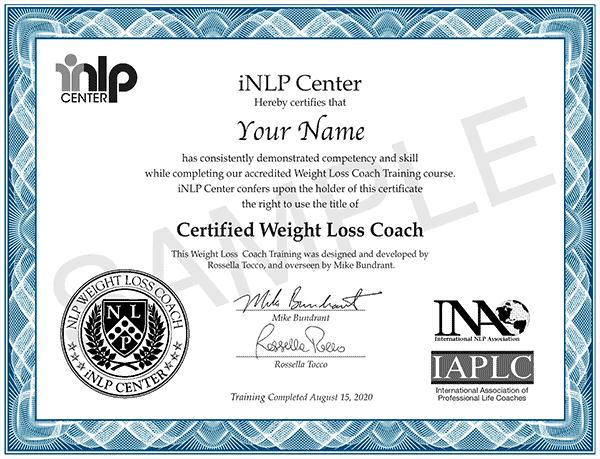 weight loss coach certification certificate